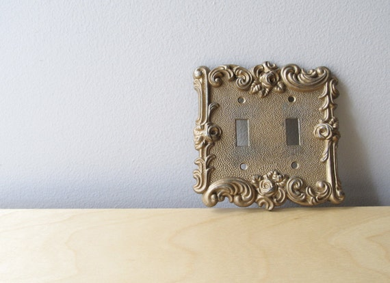 vintage double light switch plate, art nouveau style