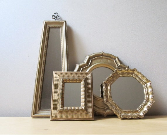 instant collection vintage gold gilded mirrors, hexagon, moorish, hollywood regency