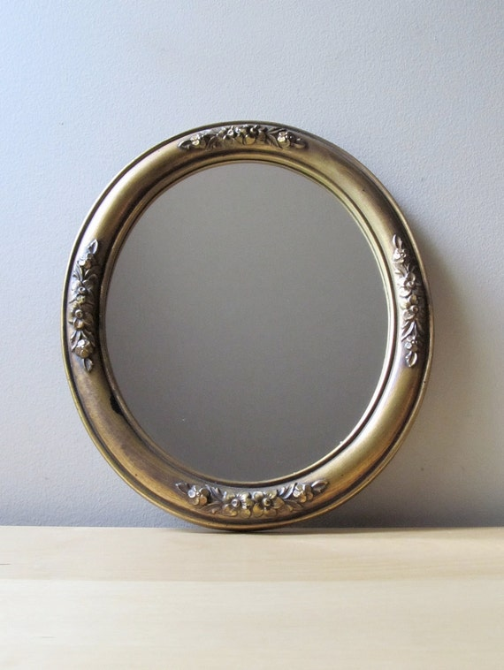 shabby chic gold gilt mirror, vintage oval mirror, embossed floral frame