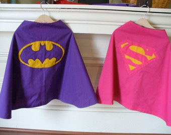 Reversible Supergirl and Batgirl Child Costume Capes