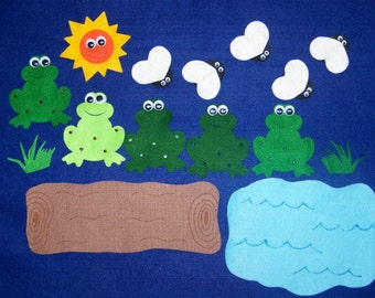 5 Speckled Frogs and Flies Flannel Felt Board Set Story