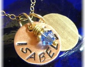Personalized Mommy Necklace With Gold- Filled 1/2 Inch Discs and Chain - Swarovski Birthstone - Two Names - Handmade to Order