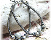 Pearl Hoop Earrings - Antiqued Sterling Silver and Wire Wrapped Pearls - Handmade