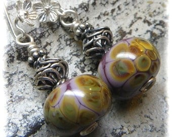 Sterling Silver and Artisan Lilac and Earth Tones Lampwork Floral Earrings - Handmade