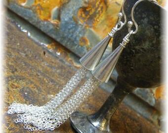 Yosemite Bridalveil Falls Waterfall Earrings - Long, LONG Liquid Sterling Silver - Handmade