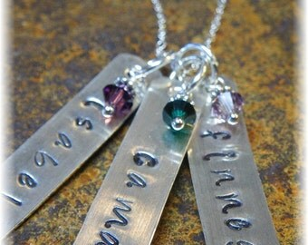 Triplet gifts etsy custom sterling silver personalized stamped dogtag birthstone necklace 3 names great mother grandmother of negle Images
