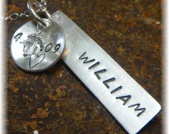 Birthstone Swarovski Crystal Stamped Name Birthday Necklace Dog Tag - Sterling Silver Chain - Bride Wedding Mom Grandma Gift - Handmade