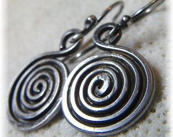 Silver Spiral Earrings - Primal Sun Earrings - Sterling Silver - Handmade to Order