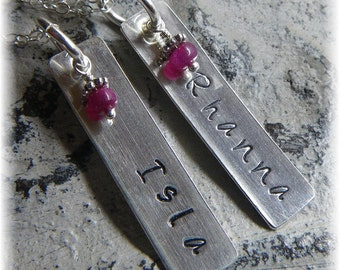 Custom Bridesmaid Set Sterling Silver Personalized Stamped Dogtag Swarovski Birthstone Necklaces - 2 Names, Two Necklaces - Handmade