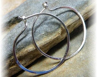 Reasonably Sized Classic Smooth Hammered Sterling Silver Hoop Earrings - Approx 28mm - Handmade to Order