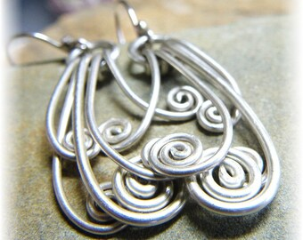 Bright Spirit - Sterling Silver Spiral Earrings - Handmade and Polished Shiny -Made to Order