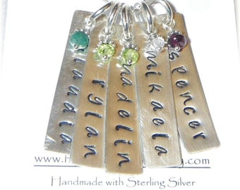 Custom Sterling Silver Personalized Stamped Dogtag Crystal Birthstone Necklace -5 Five Names -Mother or Grandmother Gift -Handmade to Order