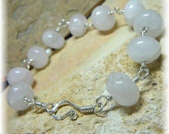 Harmony Bracelet - Rose Quartz and Sterling Silver - Handmade - SALE was 20