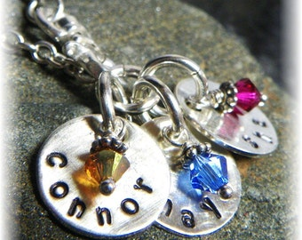 Mommy Necklace Lariat - Swarovski Birthstone Sterling Silver 3 Three Names -Thick Chain- Mother Grandmother - Handmade