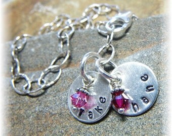 Mother's Keepsake Bracelet -2 Two Names. Swarovski Birthstones. Hammered Sterling Silver Chain and 1/2 Inch Discs. Hand Stamped to Order.