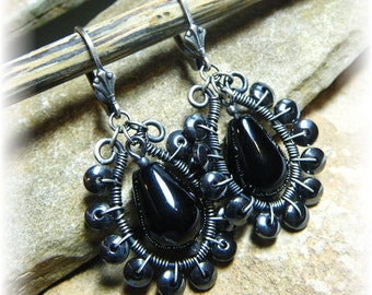 Wire-Wrapped Sterling Silver, Black Onyx, and Hematite - Long Harley Loupe Earrings -Handmade and Oxidized