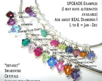 ReSeRvEd - Real Gemstone Birthstone Charm Upgrade for Custom Name Necklace