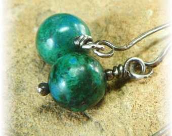 Genuine Turquoise and Sterling Silver DROP Earrings - Peruvian Stone Great and Colorful- Handmade and Oxidized