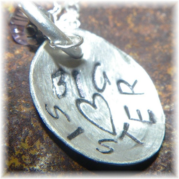 Big Sister Necklace - Sterling Silver and Swarovski Crystal Personalized Stamped - Mom Baby Sibling Gift - Handmade to Order