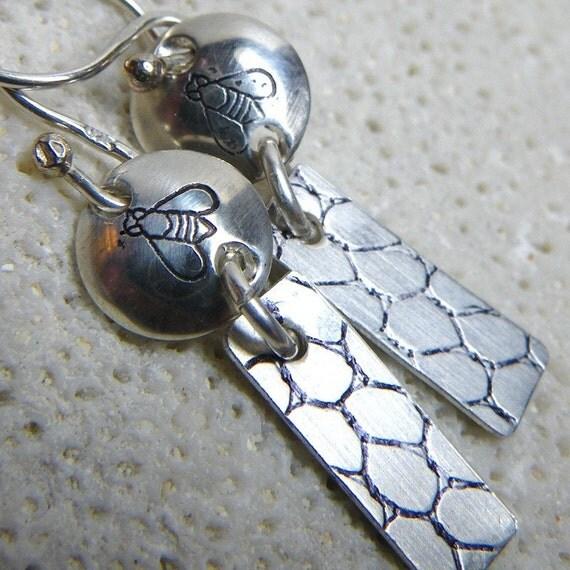 Sterling Silver Honey Bee and Honeycomb Earrings - Handmade