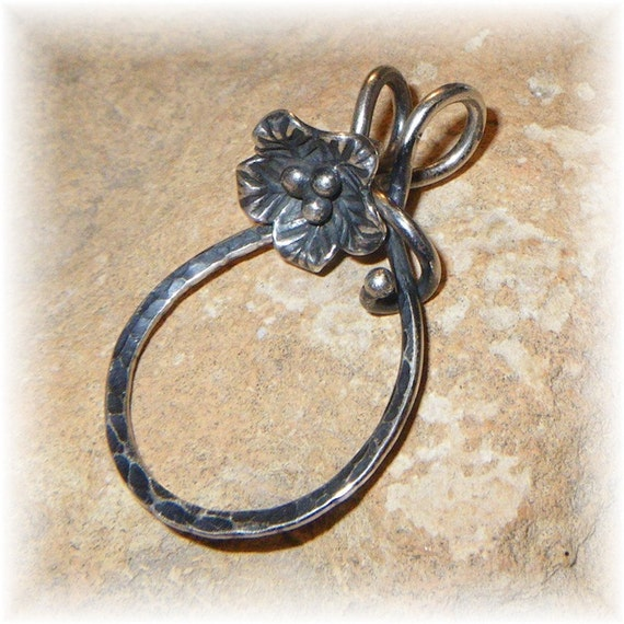 Unique Sterling Silver Thick Organic Floral Vine Charm Holder for Your Own Charms - Handmade to Order