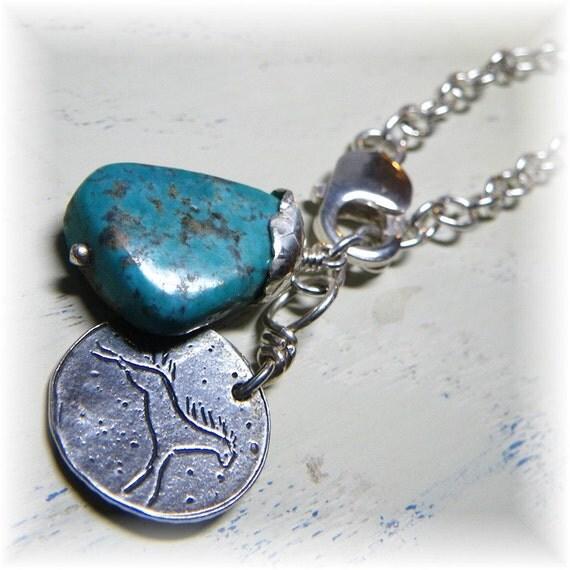 Cowgirl Horse Bracelet, Natural Turquoise Nugget Stone, Sterling Silver -December Birthstone- Handmade - SALE Was 60 Wild Spirit - Primitive