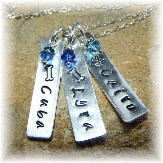 Custom Sterling Silver Personalized Stamped Crystal Birthstone Necklace - 3 Dog Cat Pet Names - Great Unique Gift - Handmade