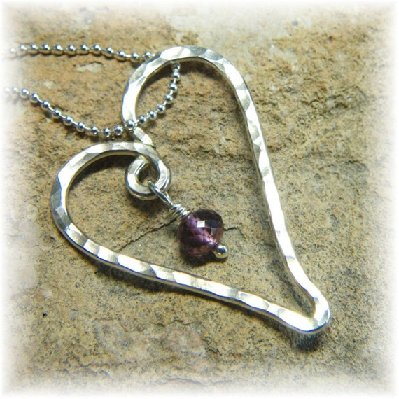 Be Mine - Garnet Gemstone and Sterling Silver Floating Valentine Heart Pendant Necklace - January Birthstone - Handmade