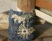 Gypsy Cowgirl handstiched tattered pieced steel blue textile cuff - by simplyworn