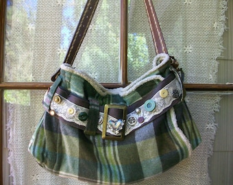 "Urban Country Boho ""Aspen"" green wool plaid bag by simplyworn"