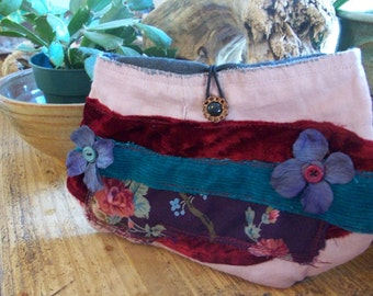 Velvet floral small clutch pouch - by simplyworn