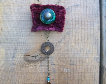 bohemian gypsy velvet feather patina metal necklace - by simplyworn