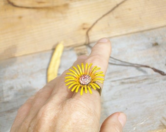 Artsy...Sunflower metal ring - by simplyworn