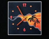 Unusual zipper art orange and black sunset, art wall clock