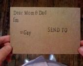 Dear Mom and Dad, I'm Gay.  A postcard.