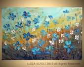 Original Modern Impasto Oil Large Painting FORGET Me Not Flowers by Luiza Vizoli