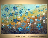 Original Modern Impasto Oil Large Painting FORGET Me Not Flowers by Luiza Vizoli