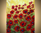 POPPIES FIELD Original Modern Abstract Floral Impasto Palette Knife Oil Painting by Luiza Vizoli