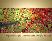 Original Abstract Large Tree Autumn Landscape Acrylic Painting BEAUTIFUL FALL DAY by Luiza Vizoli