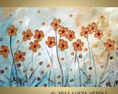 Original Large Painting Gold Flowers on White Modern Textured Palette Impasto Artwork by Luiza Vizoli  Made to Order