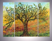 Original Abstract Modern OLIVE TREE Oil Painting Triptych Artwork by Luiza Vizoli CUSTOM 48x36