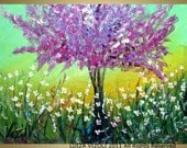 LARGE SPRING LILAC Modern Fantasy Tree Landscape Colorful Giclee on Canvas of Original Painting from Luiza Vizoli 40x30