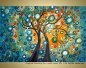 "Tree 36"" Large  Painting Embellished Giclee Painting Modern Abstract Landscape Art by Luiza Vizoli"