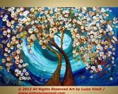 Original Landscape Oil Painting Trees Flowers Moon Fantasy Artwork BLOOMING TOGETHER