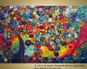 Original Fantasy Whimsical Colorful Landscape Painting PLUM TREE by Luiza Vizoli