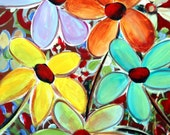 FLOWERS in BLOOM Painting Embellished Giclee Canvas by LuizaVizoli