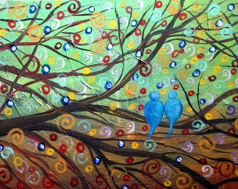 In LOVE 48x24 Original Fantasy Landscape Blue Birds Abstract Oil Textured Painting Made to Order