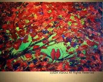 Original Modern Impasto Knife Oil Trees Landscape Birds Painting FALL SERENADE made to order
