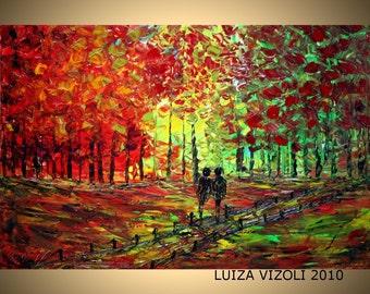 Original Modern Abstract Impasto Knife Oil Painting FALL ROMANCE 36x24 by Luiza Vizoli