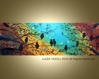 Original Modern Abstract Fantasy Trees Birds Oil Painting by Luiza Vizoli made to order36x12